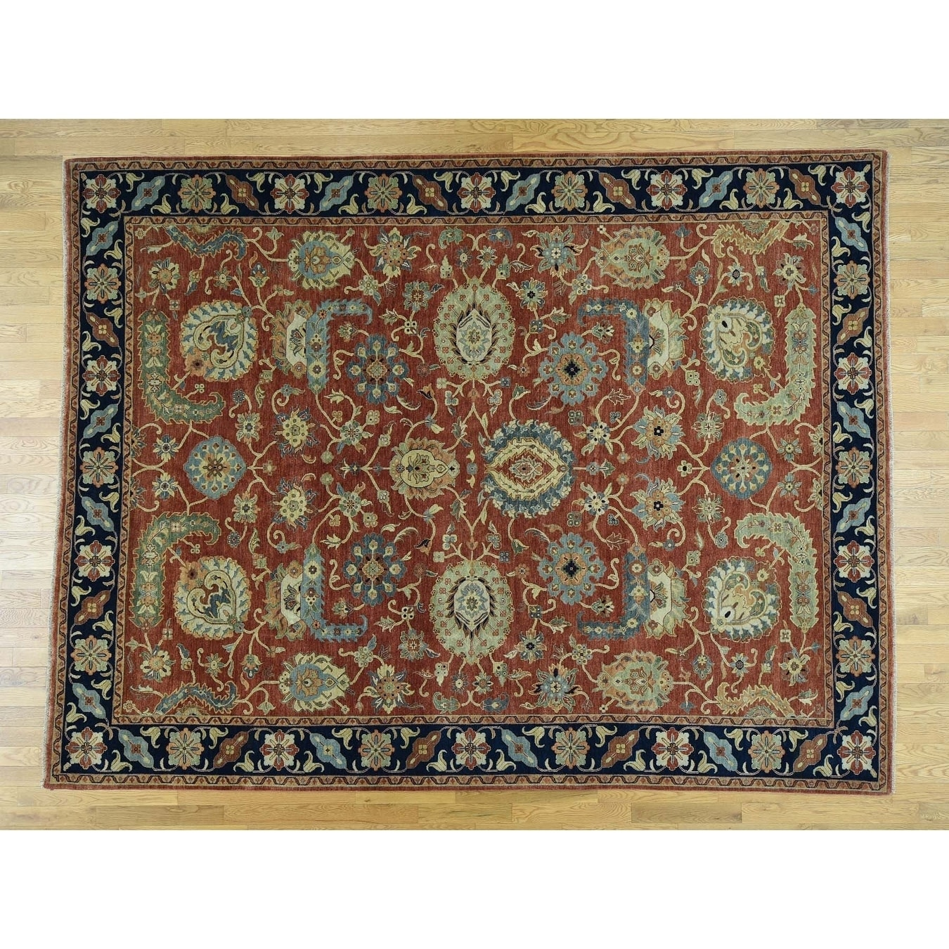 Hand Knotted Red Heriz with Wool Oriental Rug - 9 x 12