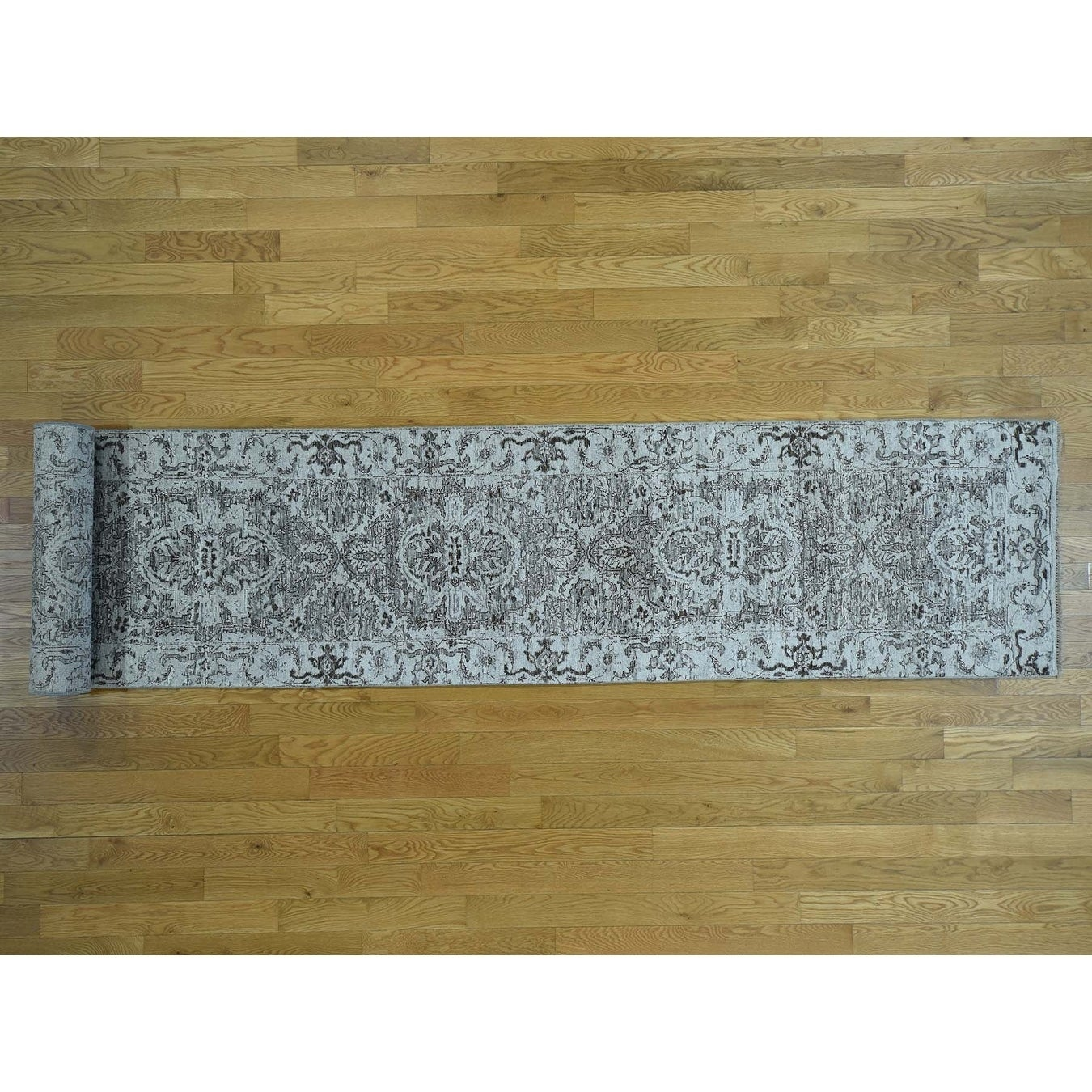 Hand Knotted Grey Heriz with Wool Oriental Rug