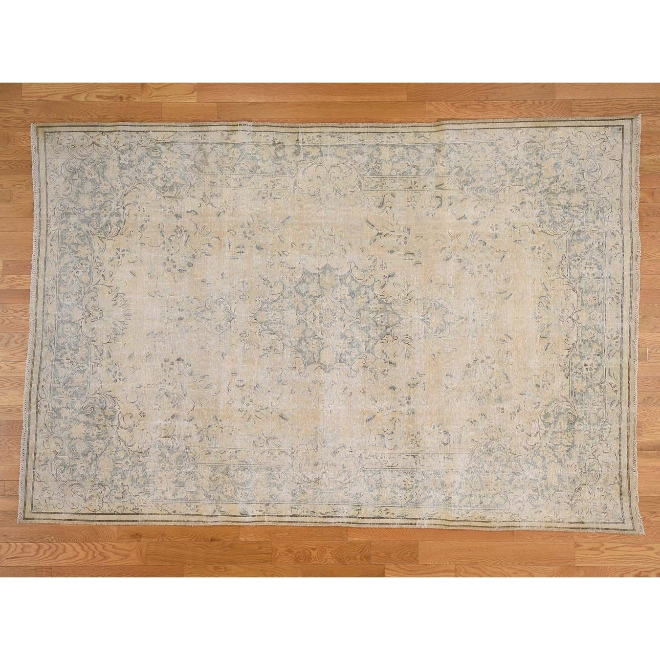 Hand Knotted Beige White Wash Vintage & Silver Wash with Wool Oriental Rug - 710 x 116