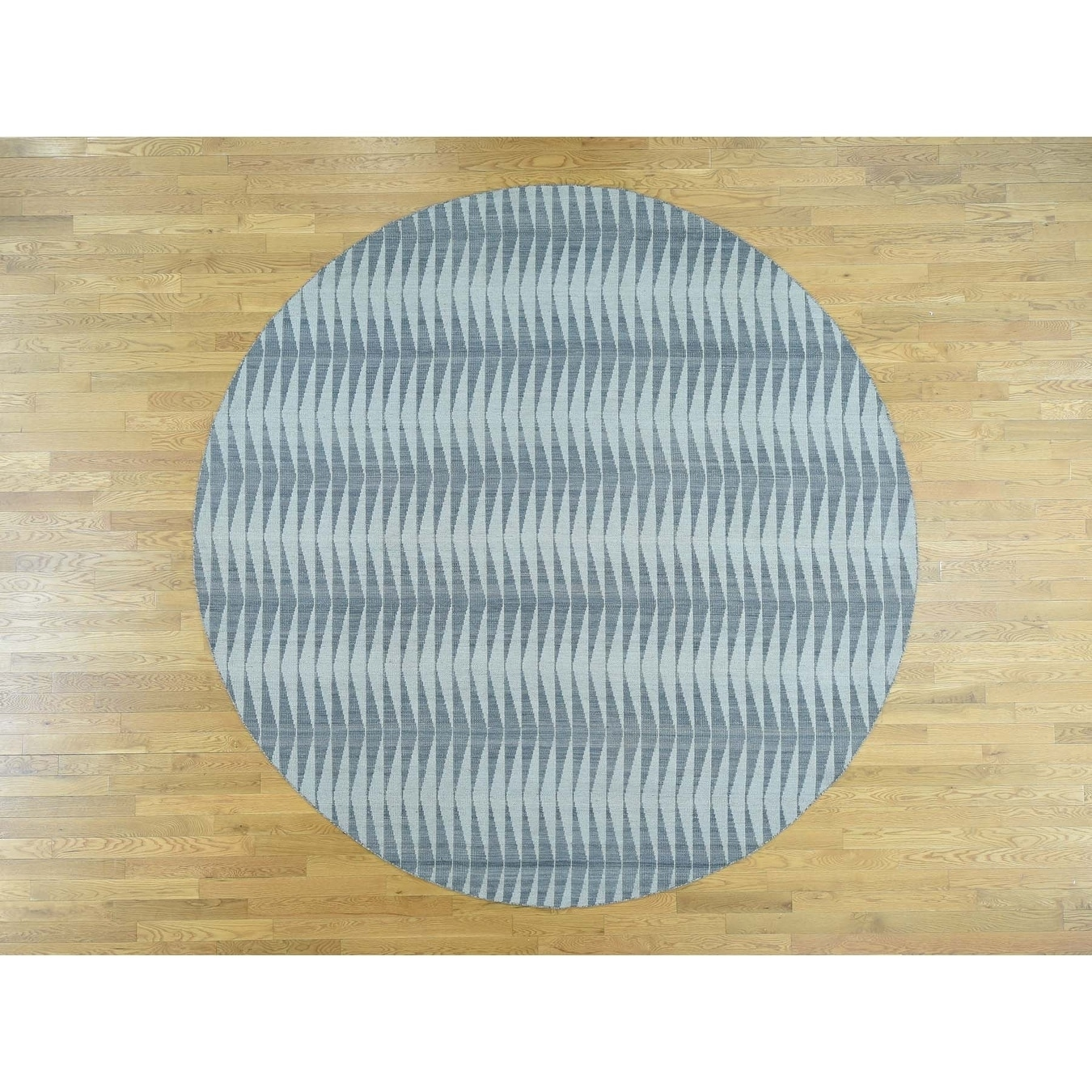 Hand Knotted Grey Flat Weave with Wool Oriental Rug - 99 x 910
