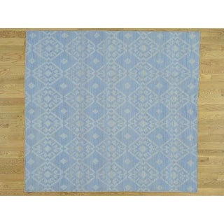 Hand Knotted Blue Flat Weave with Wool Oriental Rug - 7'10 x 7'10