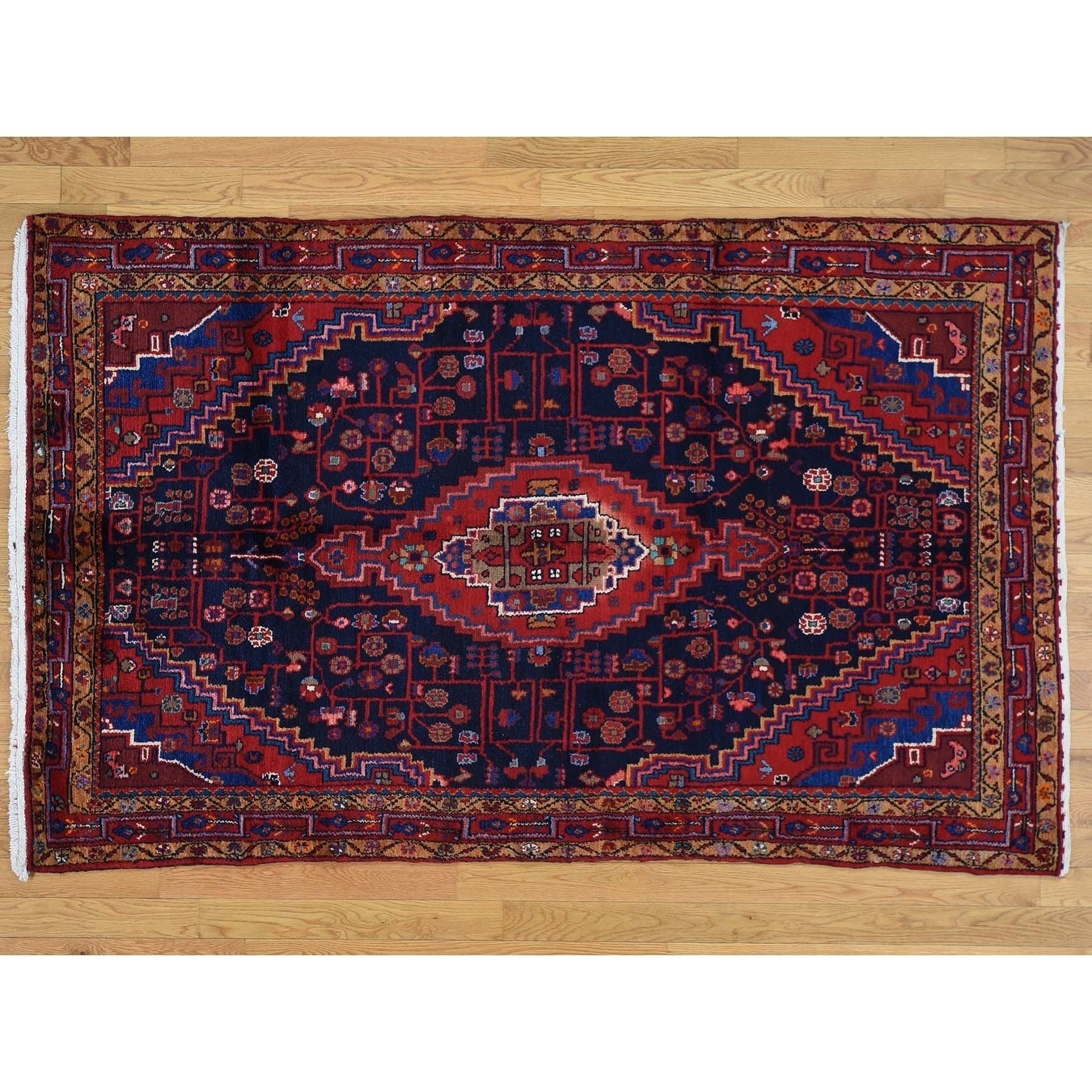 Hand Knotted Blue Persian with Wool Oriental Rug - 47 x 74