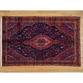Hand Knotted Blue Persian with Wool Oriental Rug - 4'7 x 7'4