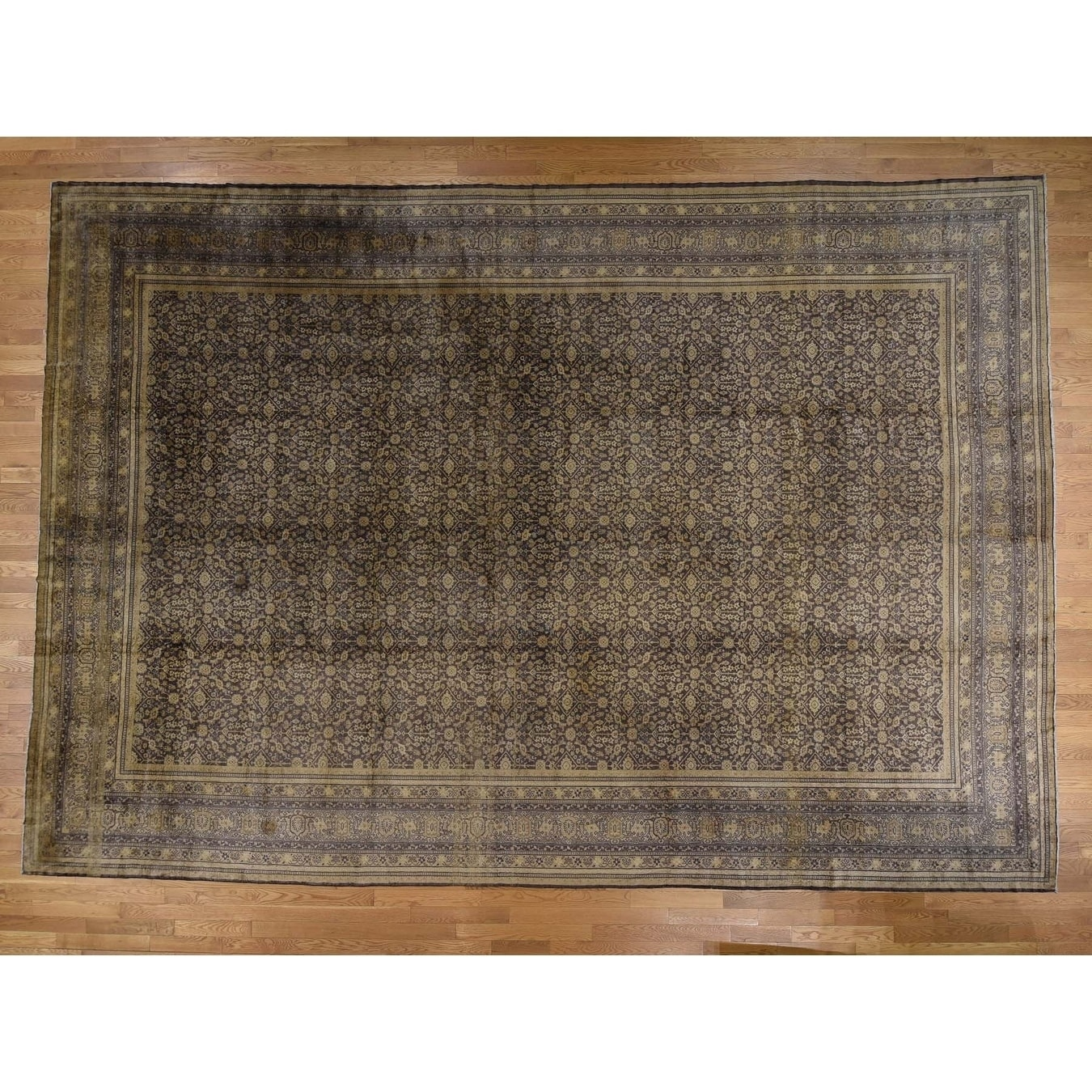 Hand Knotted Brown Antique with Wool Oriental Rug