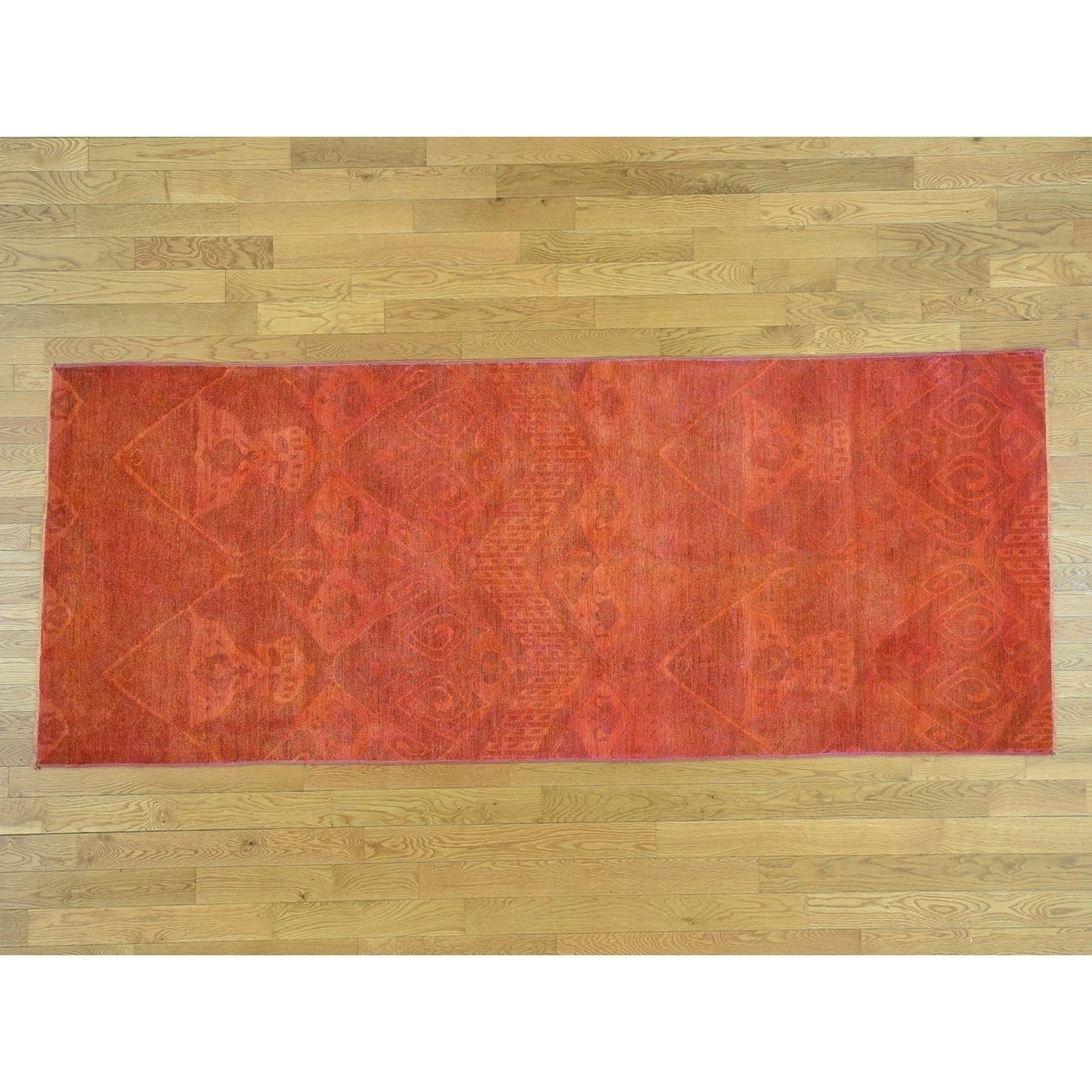 Hand Knotted Red Overdyed & Vintage with Wool Oriental Rug - 41 x 101