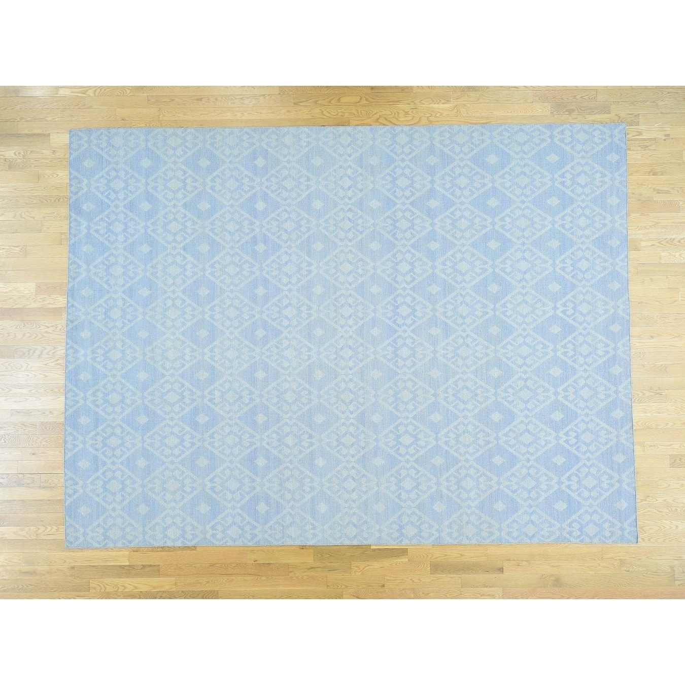 Hand Knotted Blue Flat Weave with Wool Oriental Rug - 9 x 12