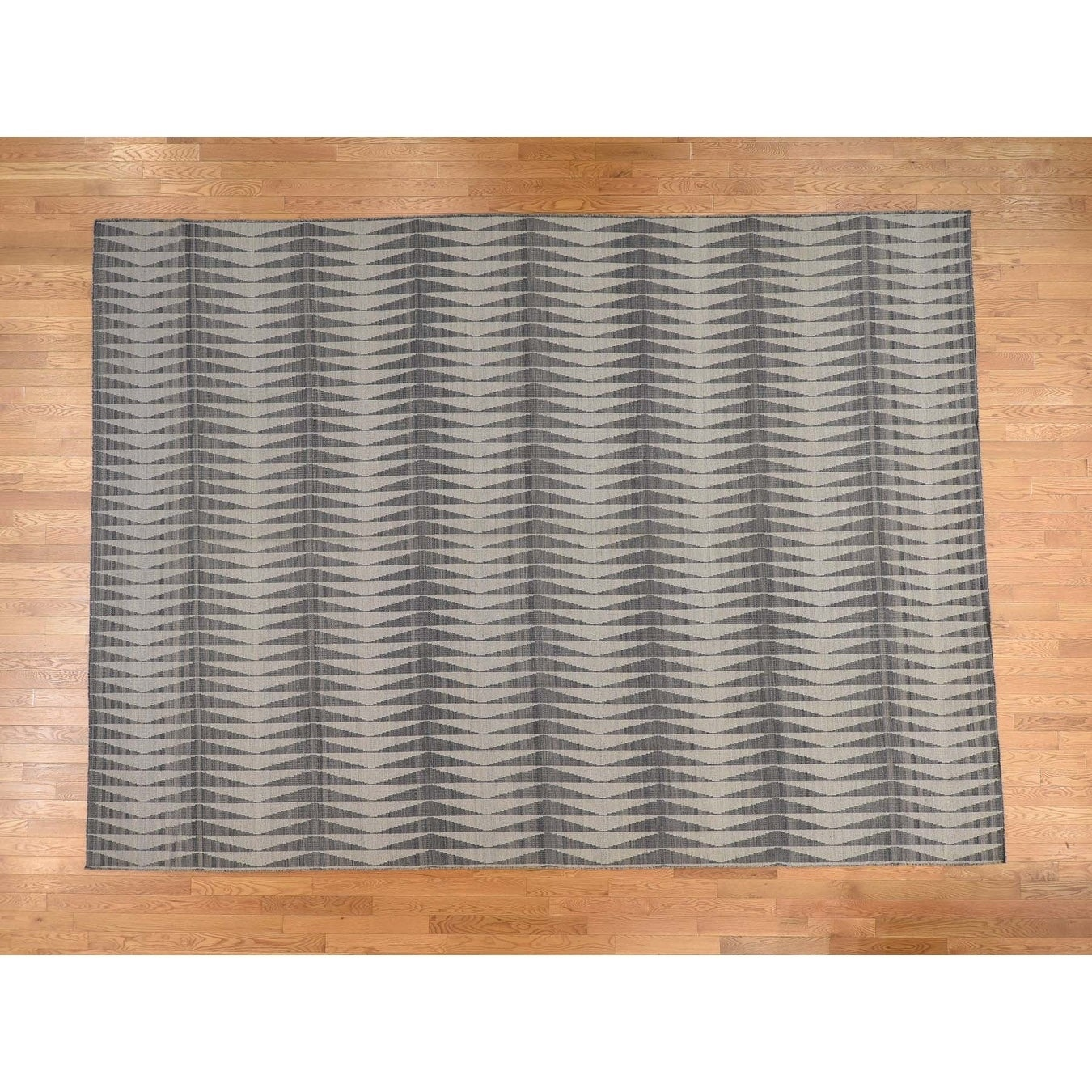 Hand Knotted Grey Flat Weave with Wool Oriental Rug - 10 x 137