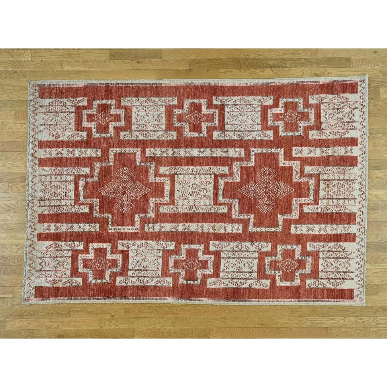 Hand Knotted Red Oushak And Peshawar with Wool Oriental Rug - 510 x 810