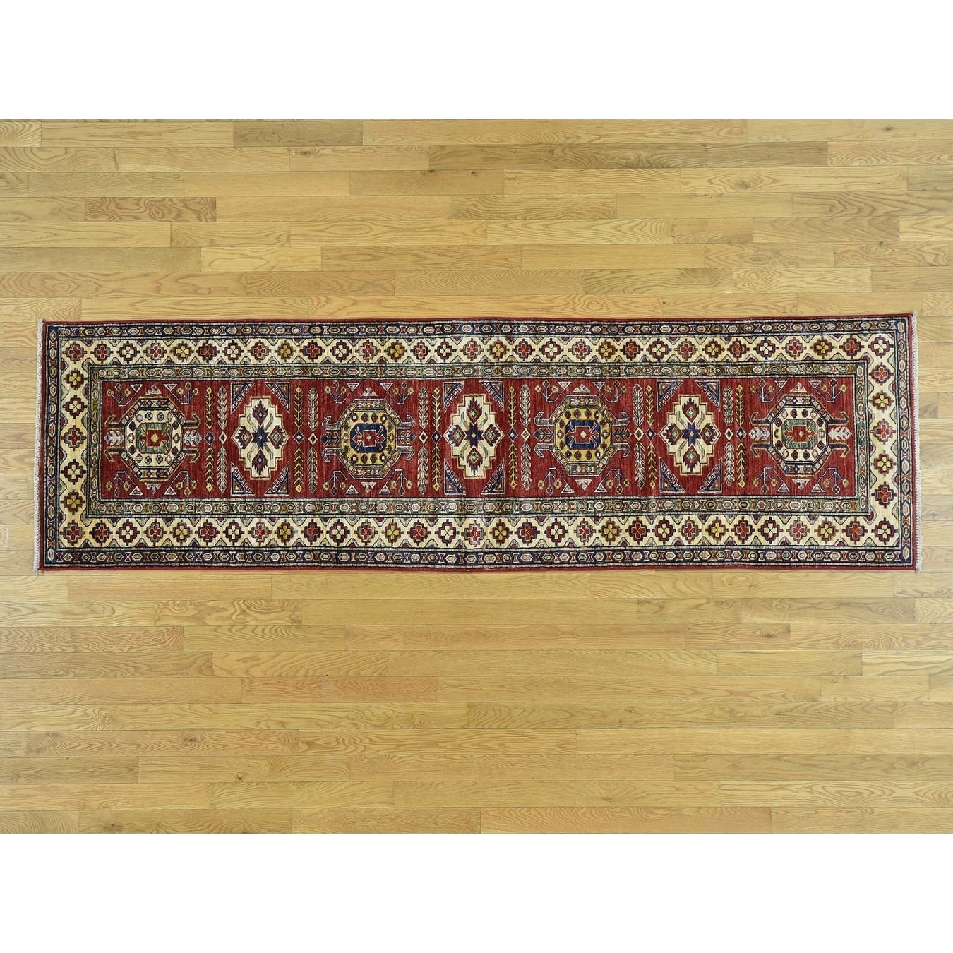 Hand Knotted Red Kazak with Wool Oriental Rug - 28 x 94