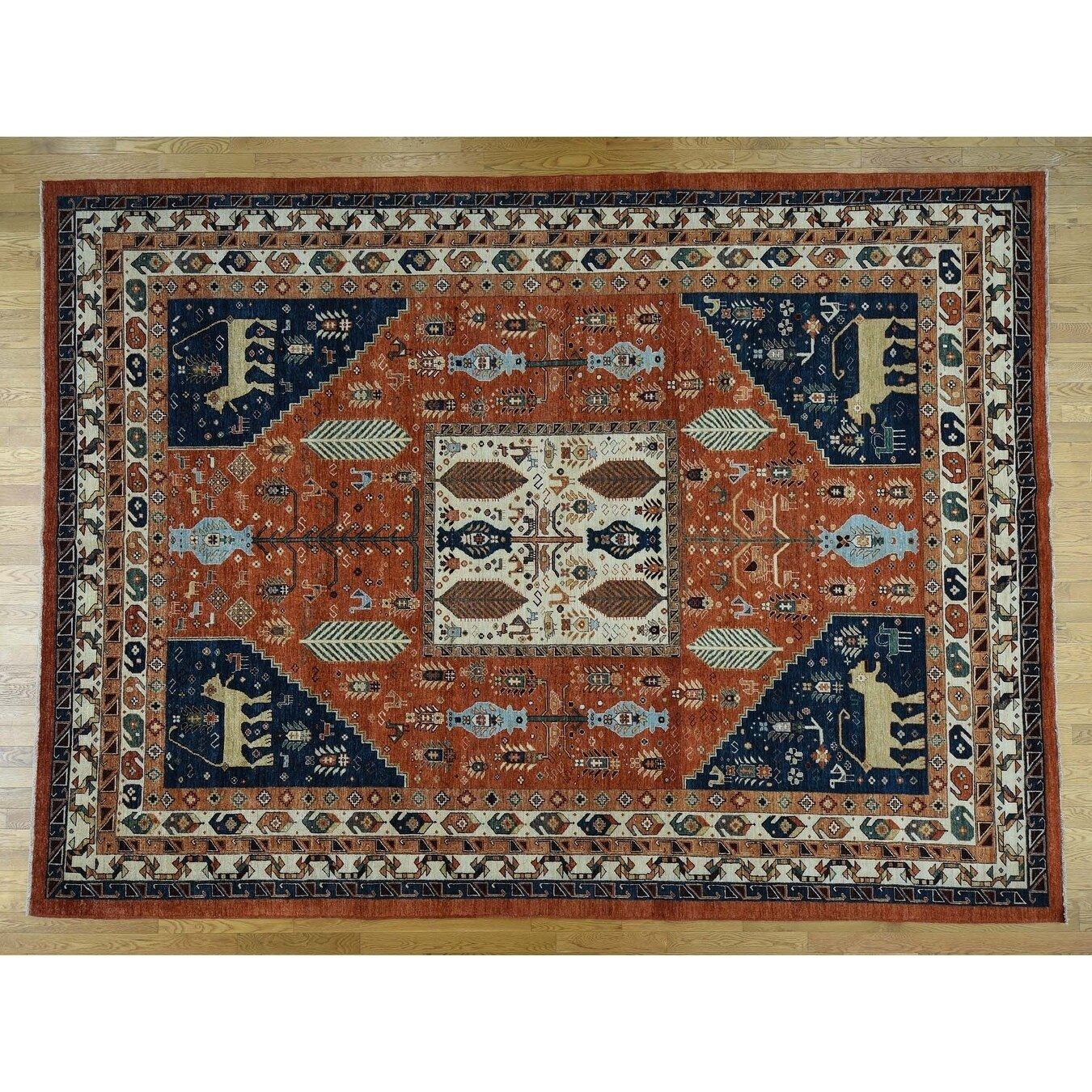 Hand Knotted Red Oushak And Peshawar with Wool Oriental Rug - 8 x 97