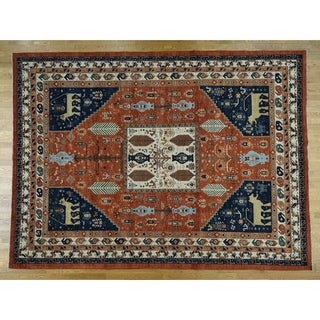 Hand Knotted Red Oushak And Peshawar with Wool Oriental Rug - 8' x 9'7