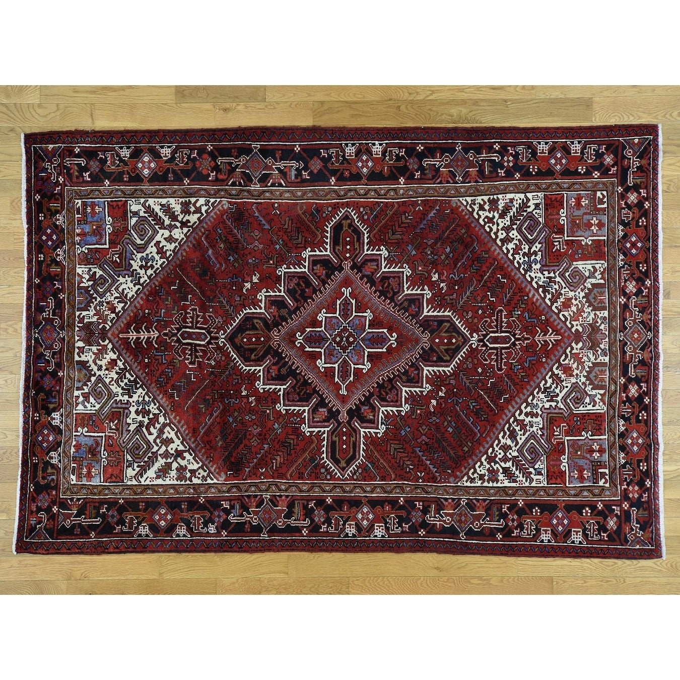 Hand Knotted Red Heriz with Wool Oriental Rug - 67 x 99