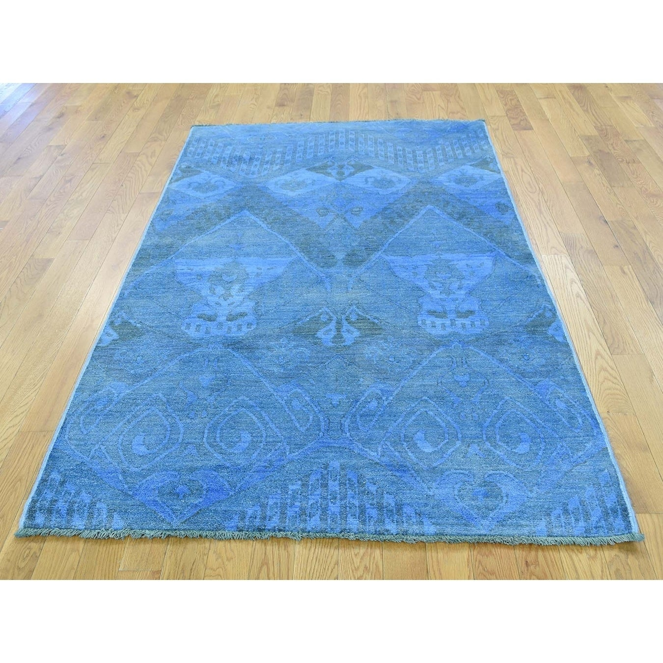 Hand Knotted Blue Overdyed & Vintage with Wool Oriental Rug - 4 x 64