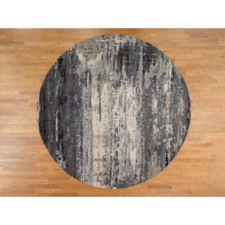 Hand Knotted Grey Modern & Contemporary with Wool & Silk Oriental Rug - 10'1 x 10'1