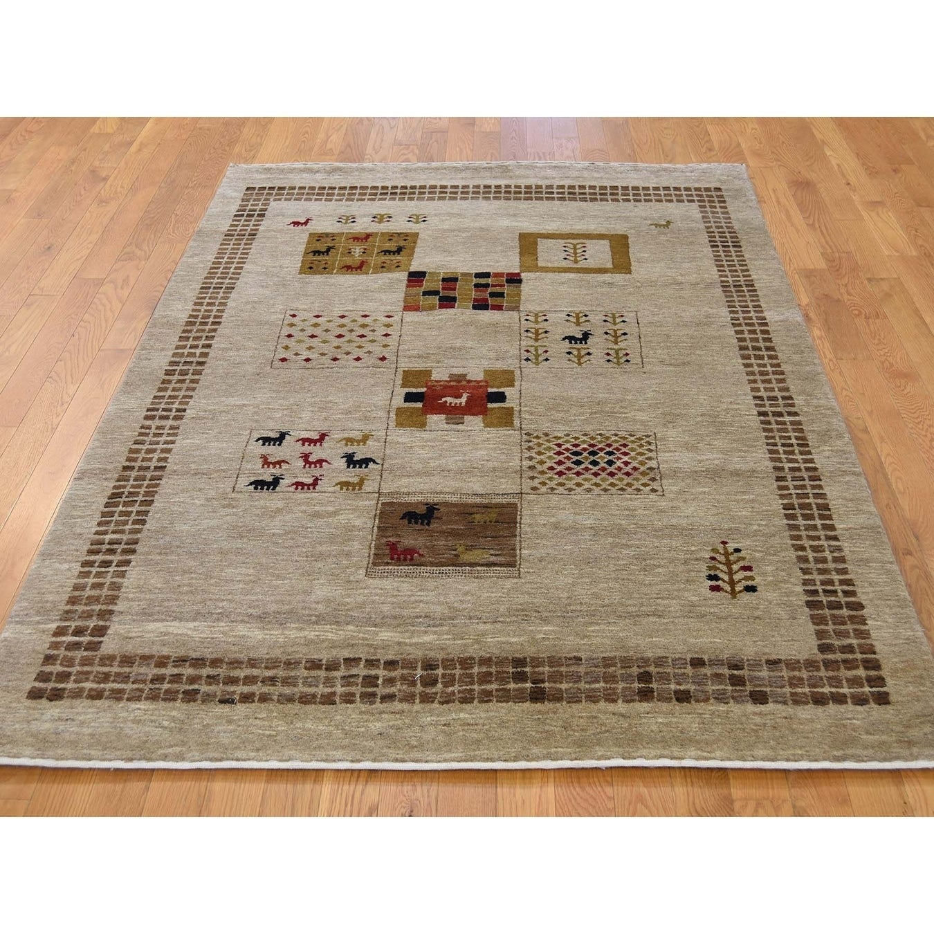 Hand Knotted Brown Modern & Contemporary with Wool Oriental Rug - 4 x 6
