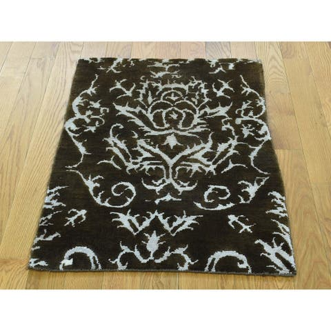 Hand Knotted Brown Modern & Contemporary with Wool & Silk Oriental Rug - 2' x 2'9