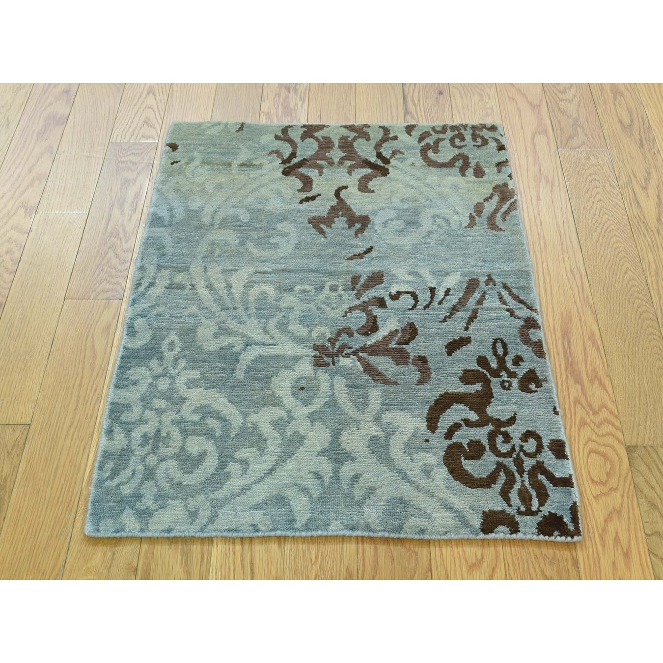 Hand Knotted Blue Modern & Contemporary with Wool & Silk Oriental Rug - 2 x 210
