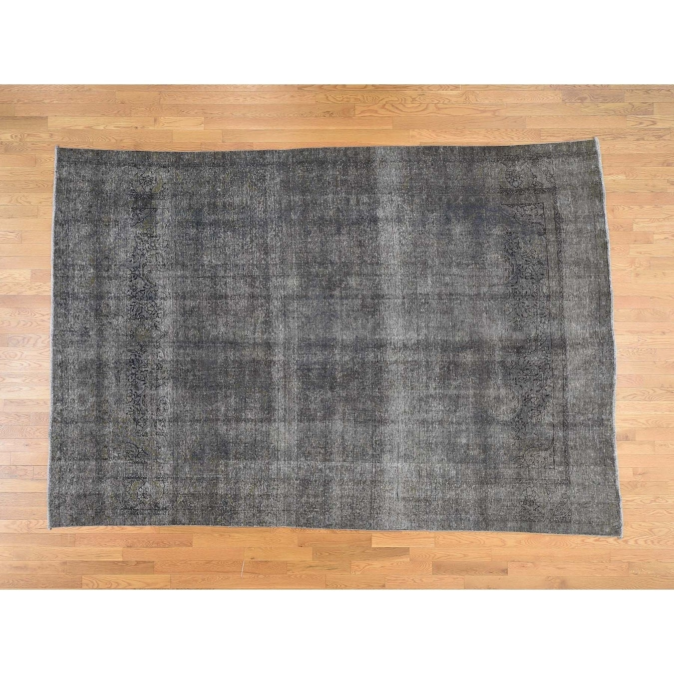Hand Knotted Grey Overdyed & Vintage with Wool Oriental Rug - 8 x 117
