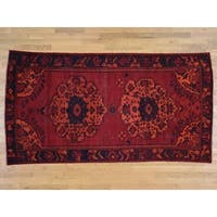 Hand Knotted Red Overdyed & Vintage with Wool Oriental Rug - 5'1 x 9'8