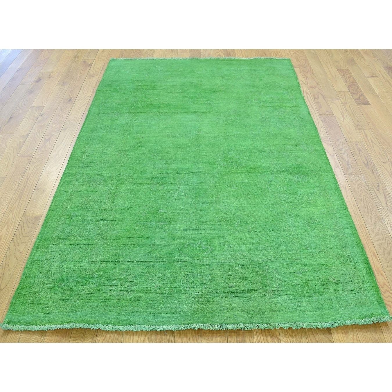 Hand Knotted Green Overdyed & Vintage with Wool Oriental Rug - 42 x 6