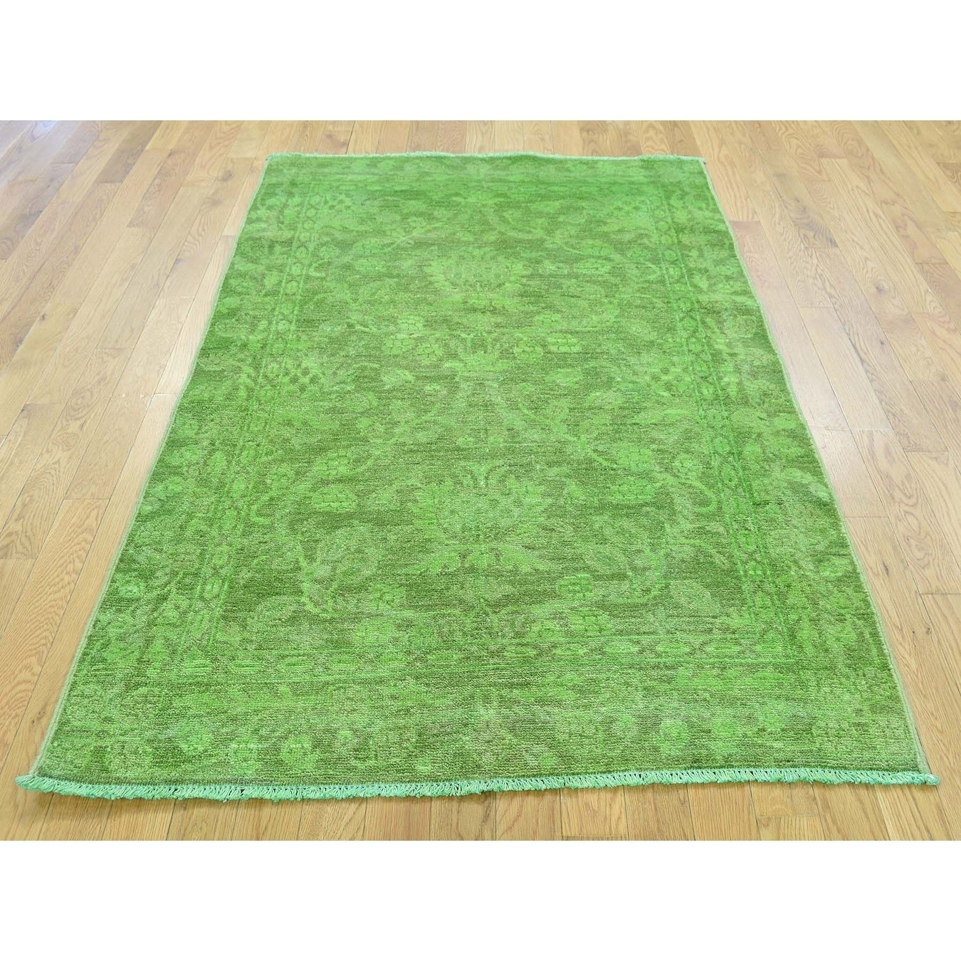 Hand Knotted Green Overdyed & Vintage with Wool Oriental Rug - 4 x 59