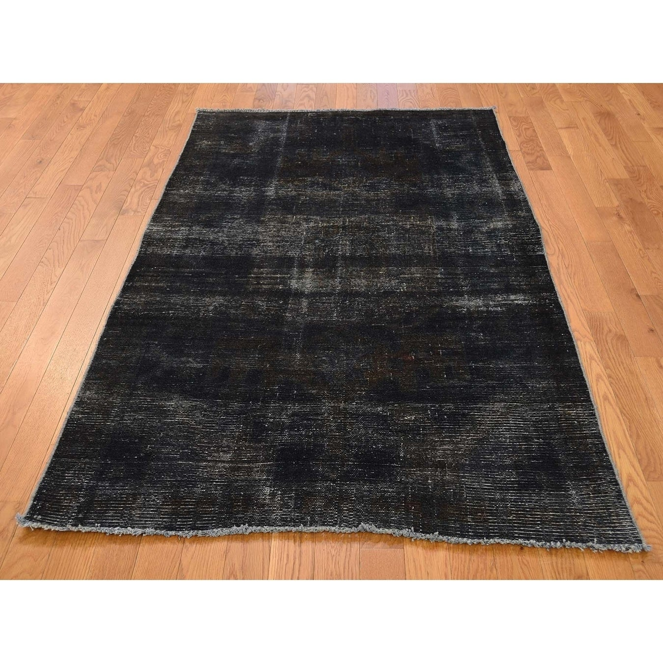 Hand Knotted Grey Overdyed & Vintage with Wool Oriental Rug - 310 x 63