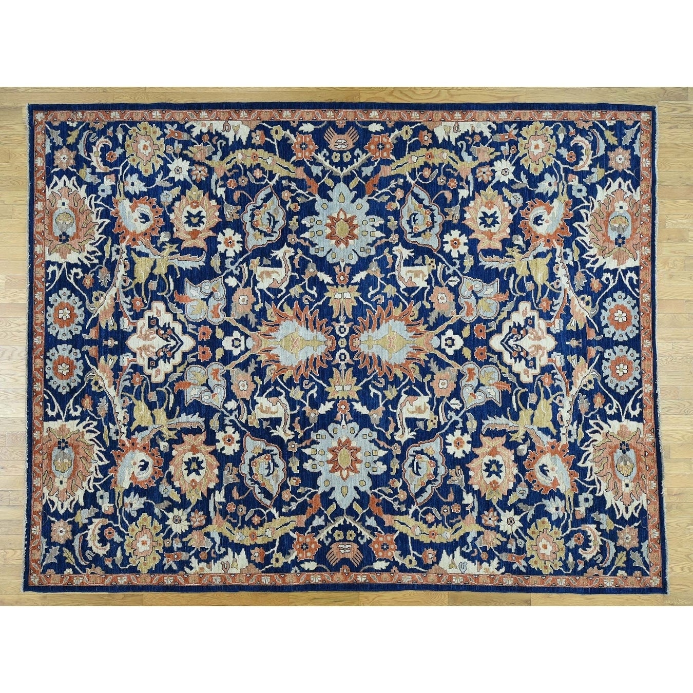 Hand Knotted Blue Oushak And Peshawar with Wool Oriental Rug - 92 x 12