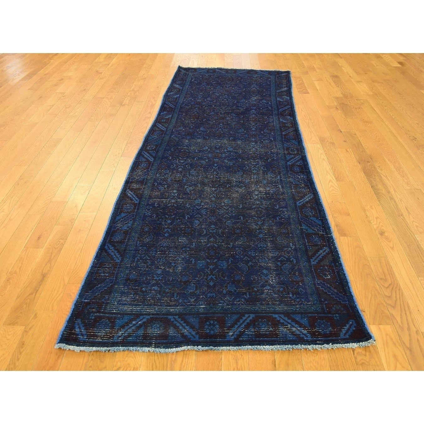 Hand Knotted Blue Overdyed & Vintage with Wool Oriental Rug