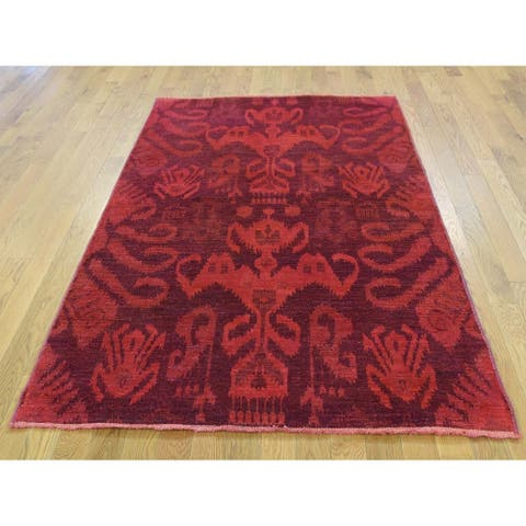 Hand Knotted Red Overdyed & Vintage with Wool Oriental Rug - 4'1 x 6'