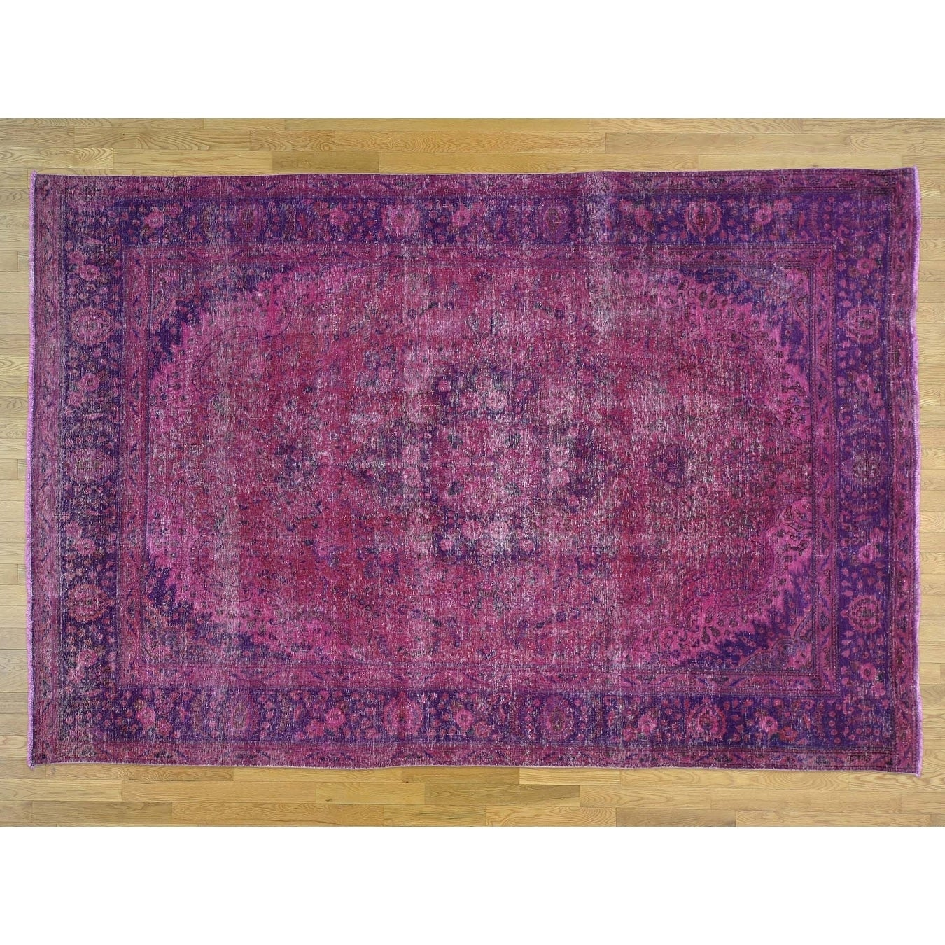 Hand Knotted Pink Overdyed & Vintage with Wool Oriental Rug - 73 x 109