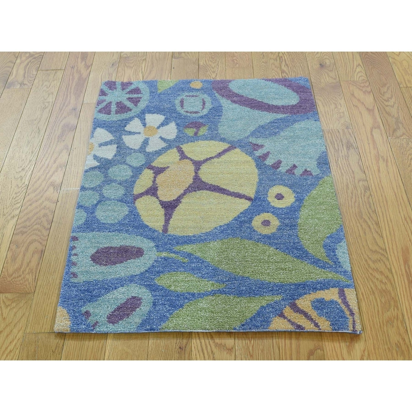Hand Knotted Blue Modern & Contemporary with Wool Oriental Rug - 2 x 3