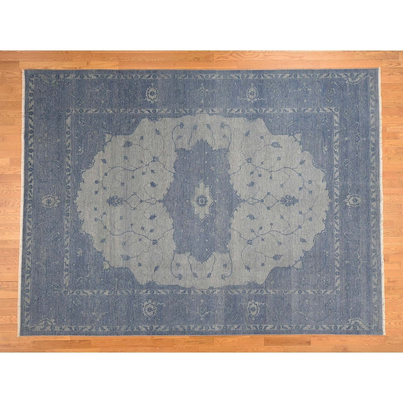 Hand Knotted Blue Heriz with Wool Oriental Rug - 9 x 12