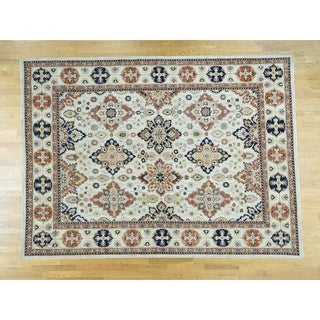 Hand Knotted Ivory Oushak And Peshawar with Wool Oriental Rug - 9'1 x 12'3