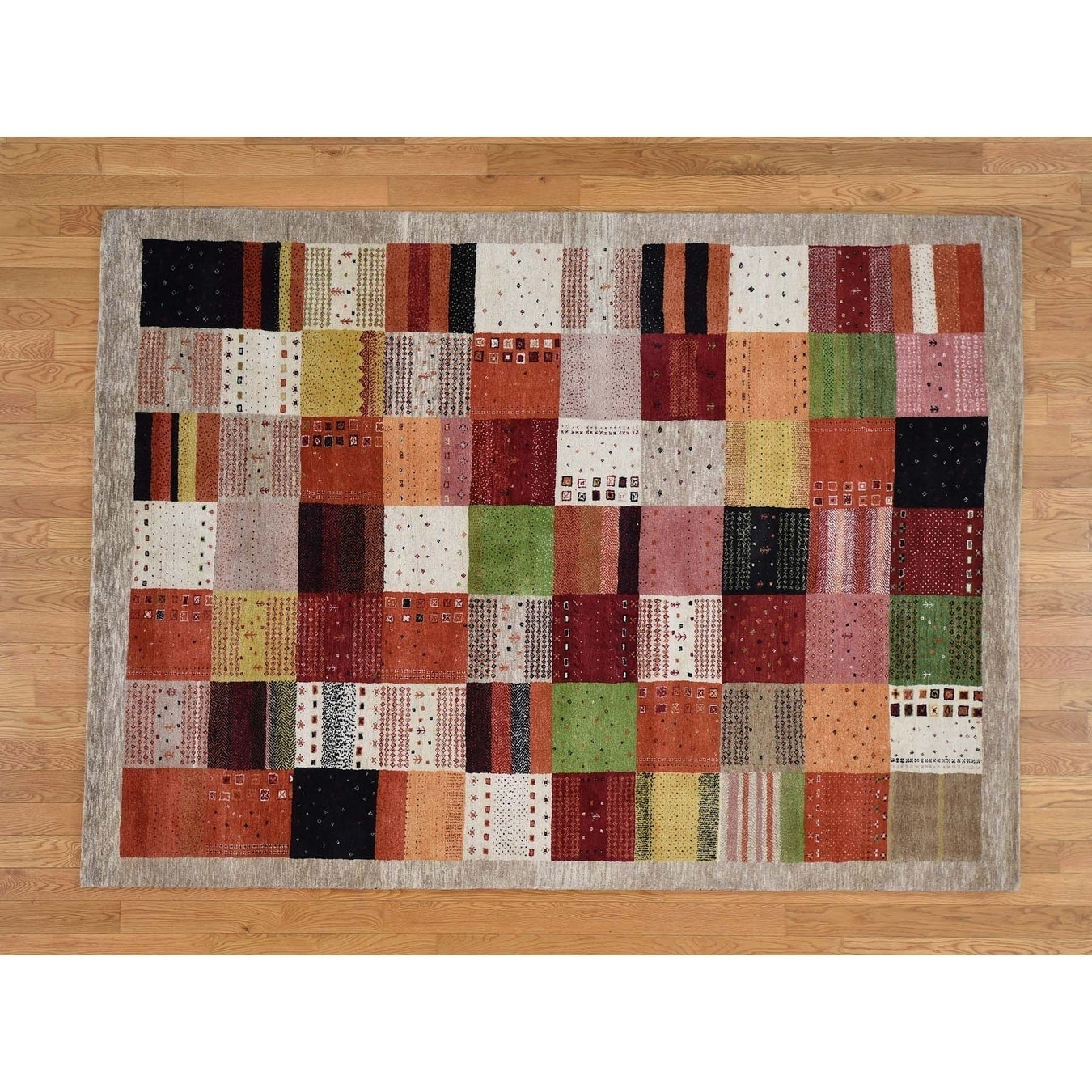 Hand Knotted Multicolored Modern & Contemporary with Wool Oriental Rug - 58 x 8