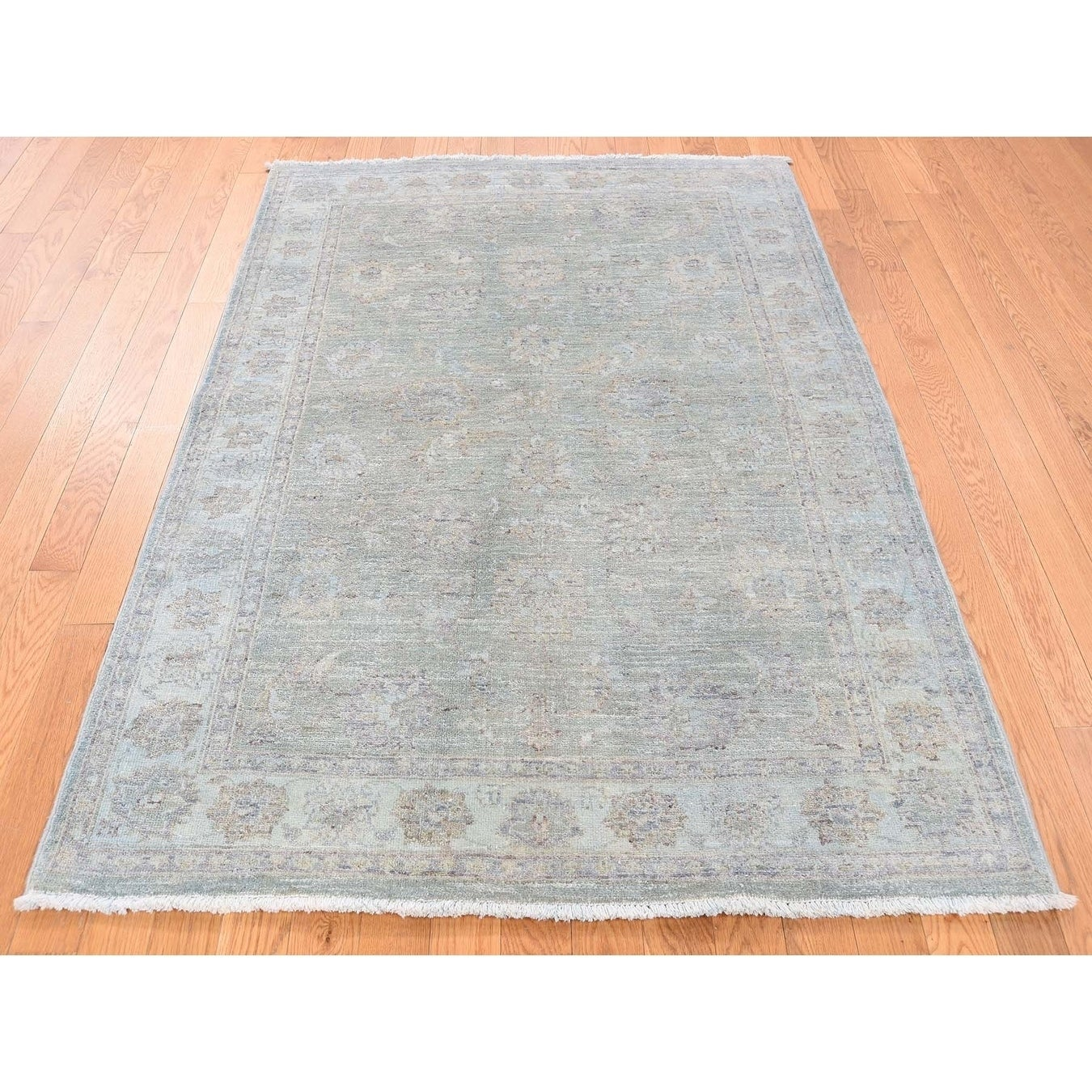 Hand Knotted Green Oushak And Peshawar with Wool Oriental Rug - 41 x 510