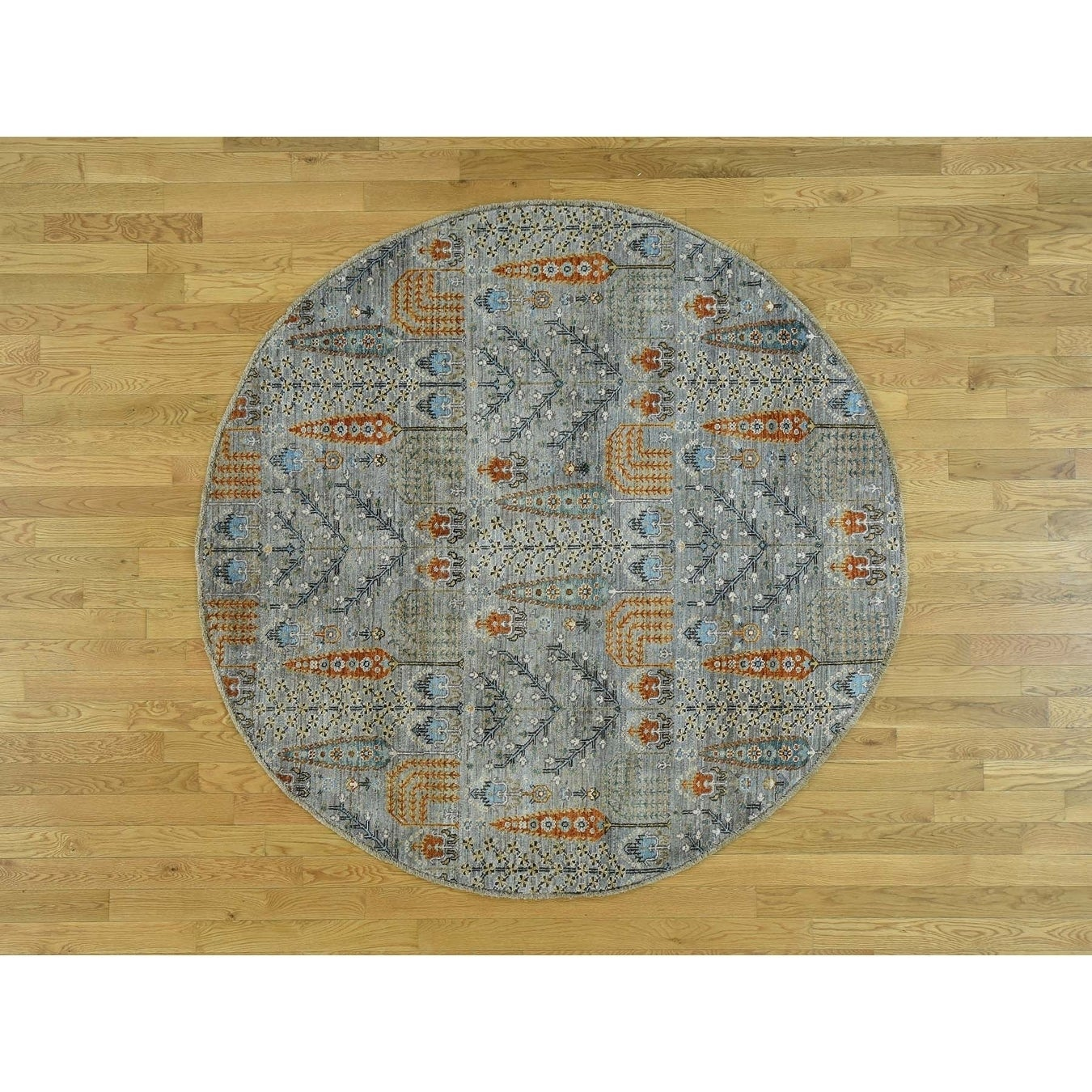 Hand Knotted Grey Oushak And Peshawar with Wool Oriental Rug - 61 x 61