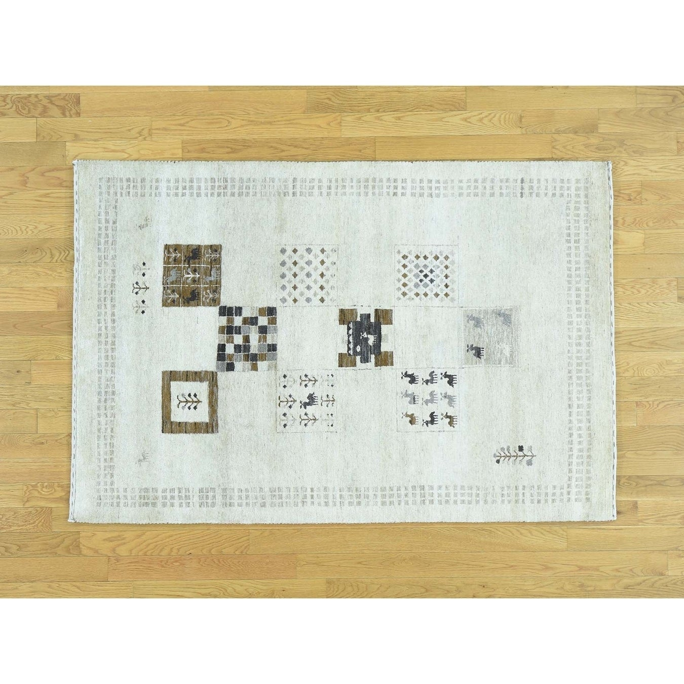 Hand Knotted Ivory Modern & Contemporary with Wool Oriental Rug - 4 x 65