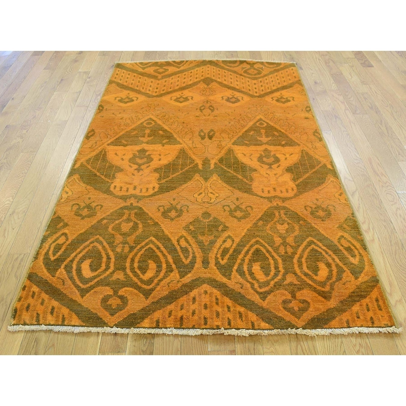 Hand Knotted Orange Overdyed & Vintage with Wool Oriental Rug - 41 x 62