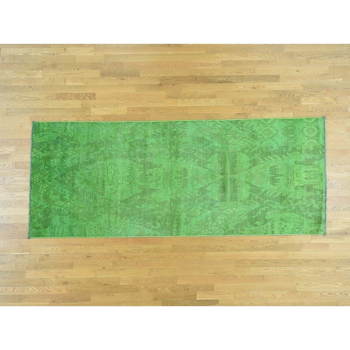 Hand Knotted Green Overdyed & Vintage with Wool Oriental Rug - 42 x 105