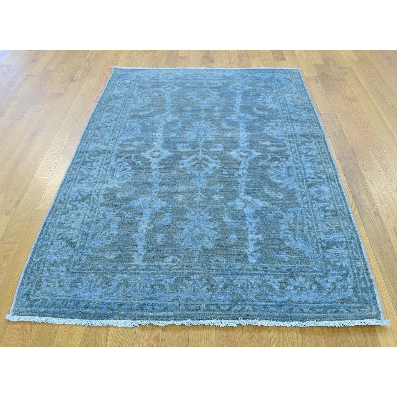 Hand Knotted Blue Overdyed & Vintage with Wool Oriental Rug - 4 x 6