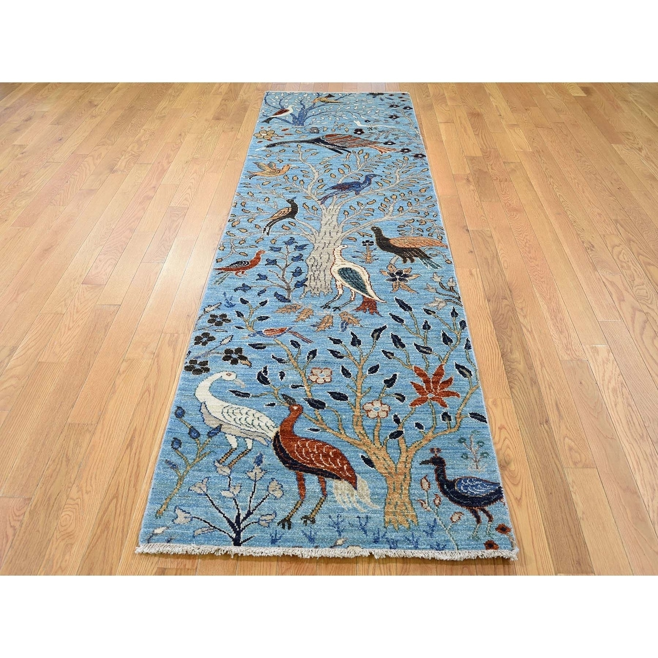 Hand Knotted Blue Oushak And Peshawar with Wool Oriental Rug - 28 x 810