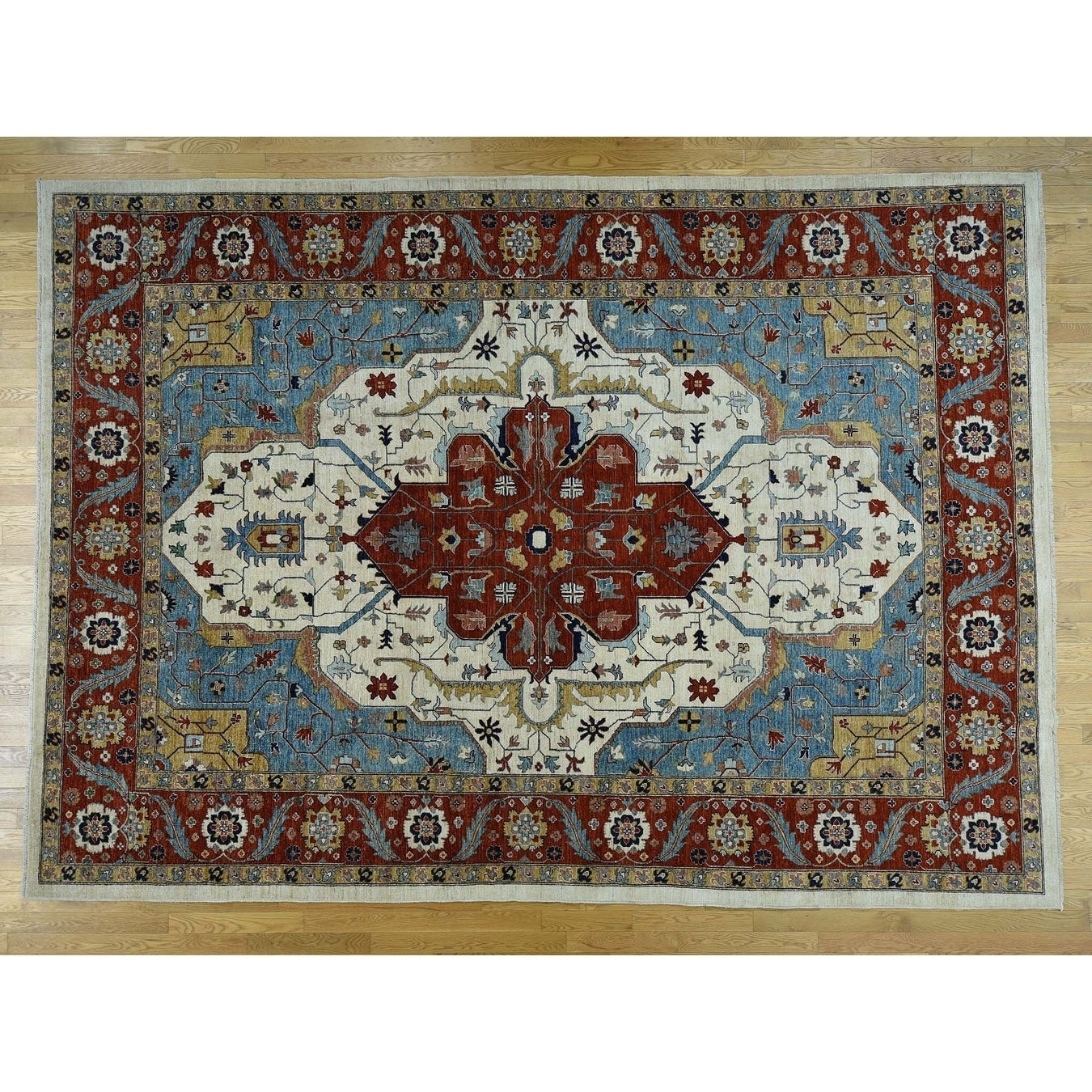 Hand Knotted Ivory Heriz with Wool Oriental Rug - 910 x 138