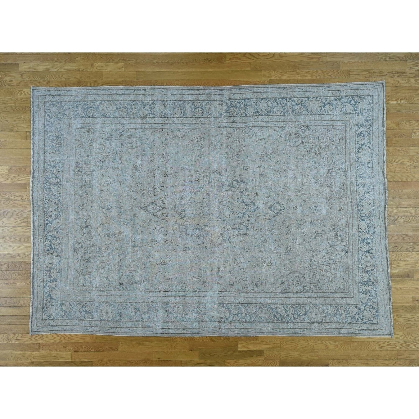 Hand Knotted Pink White Wash Vintage & Silver Wash with Wool Oriental Rug - 8 X 11