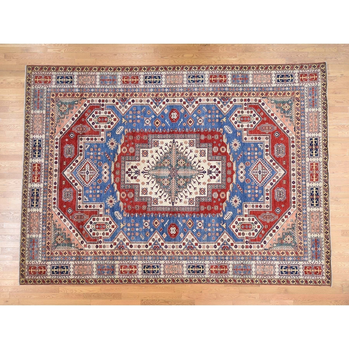 Hand Knotted Blue Kazak with Wool Oriental Rug - 97 x 135
