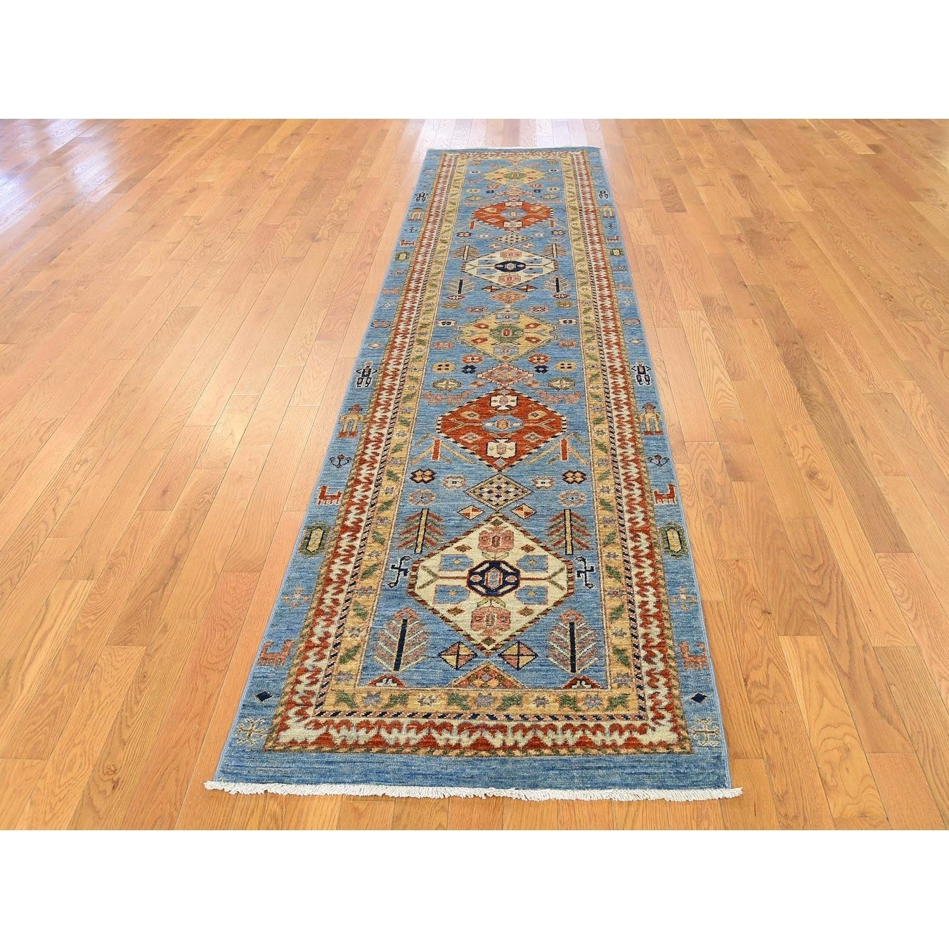 Hand Knotted Blue Oushak And Peshawar with Wool Oriental Rug