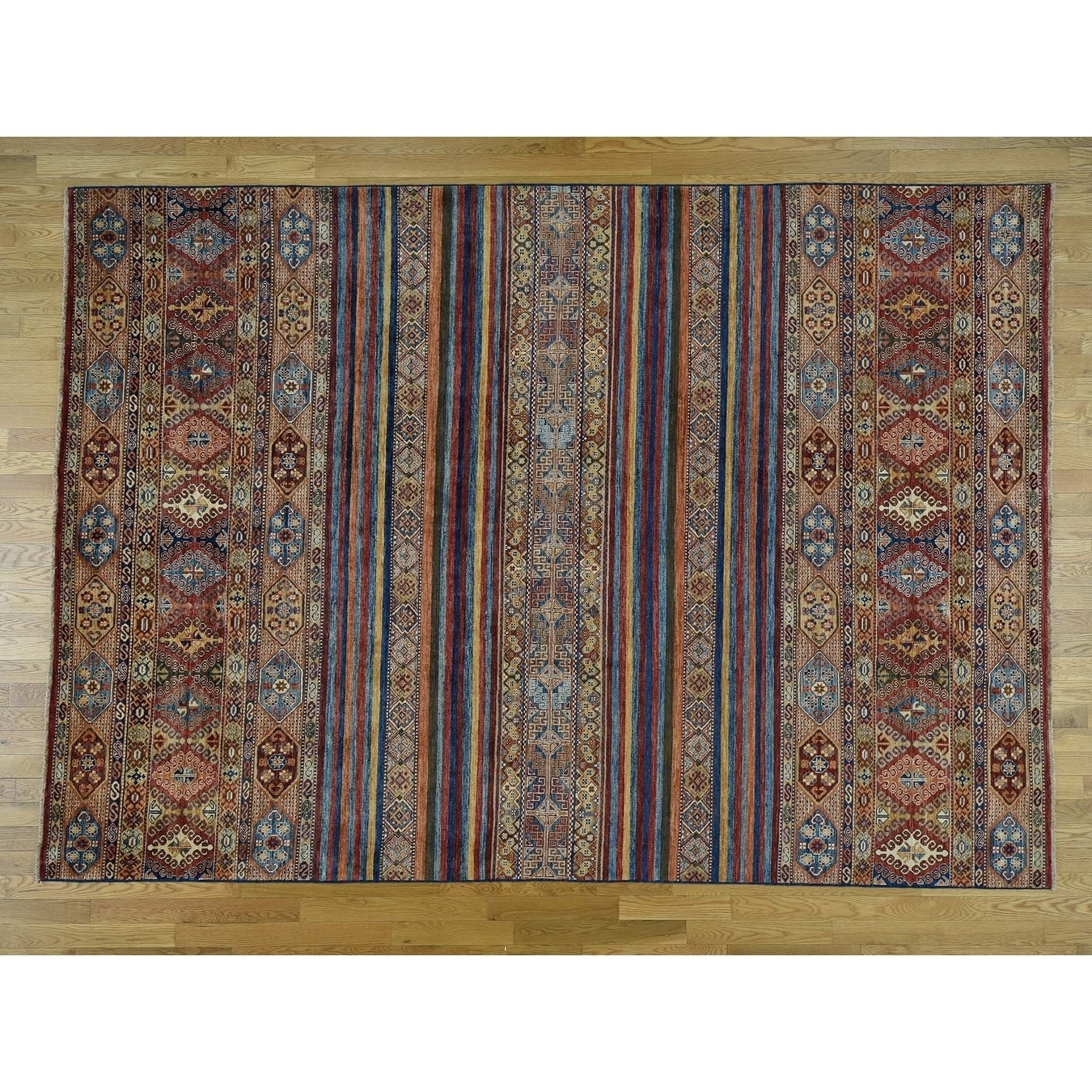 Hand Knotted Multicolored Kazak with Wool Oriental Rug - 82 x 116