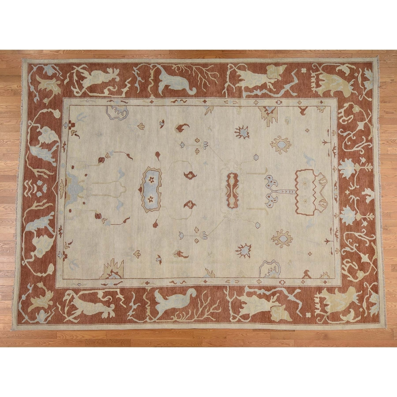 Hand Knotted Beige Oushak And Peshawar with Wool Oriental Rug - 101 x 136