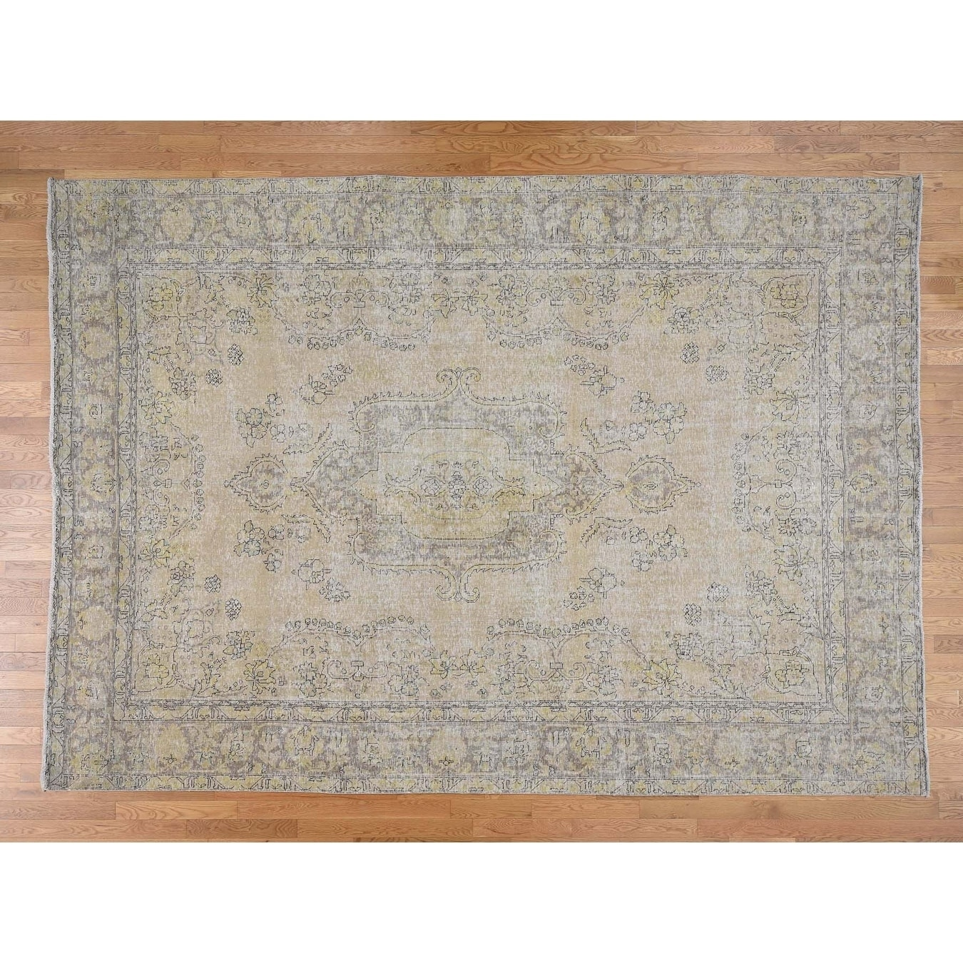 Hand Knotted Beige White Wash Vintage & Silver Wash with Wool Oriental Rug - 94 x 133