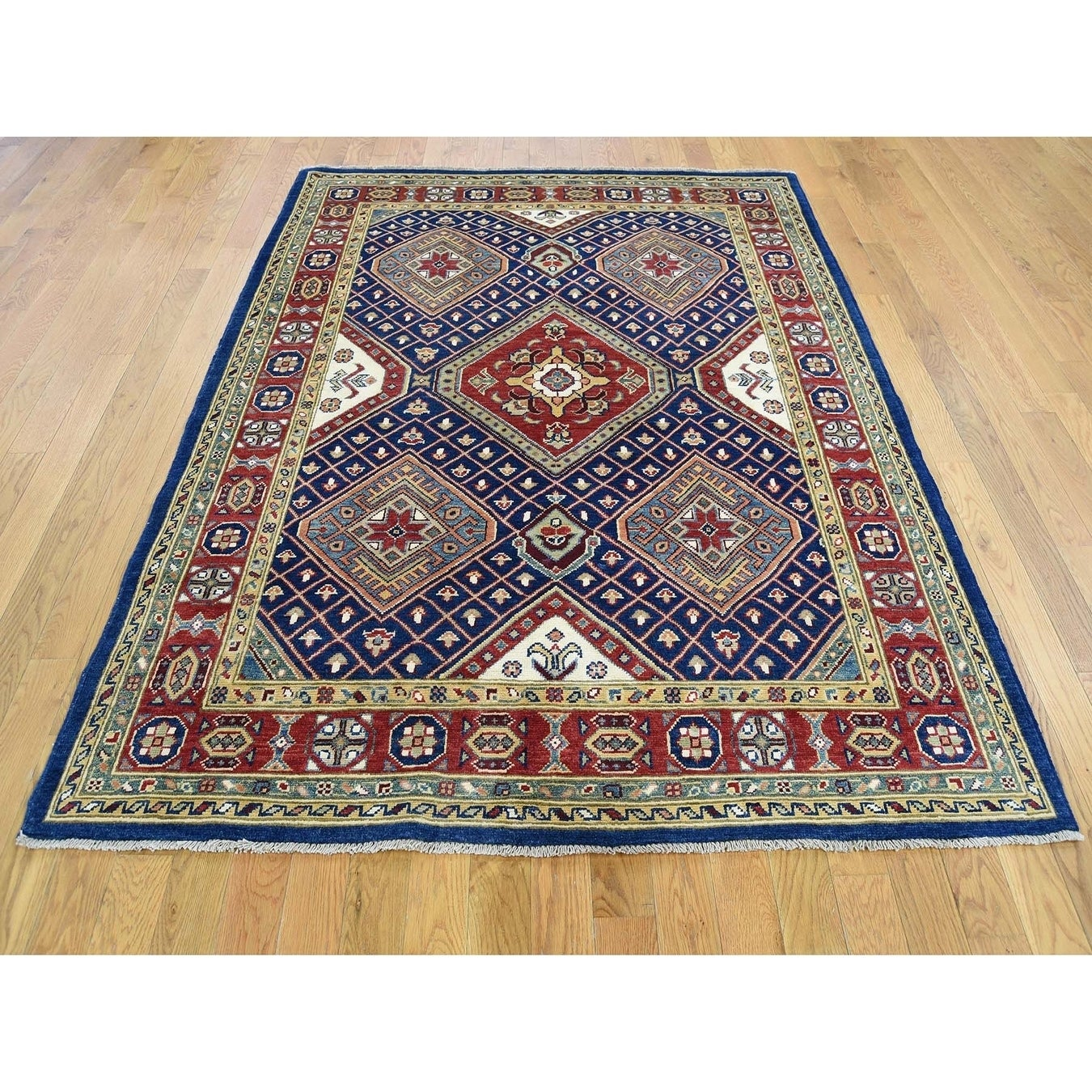 Hand Knotted Blue Kazak with Wool Oriental Rug - 5 x 65