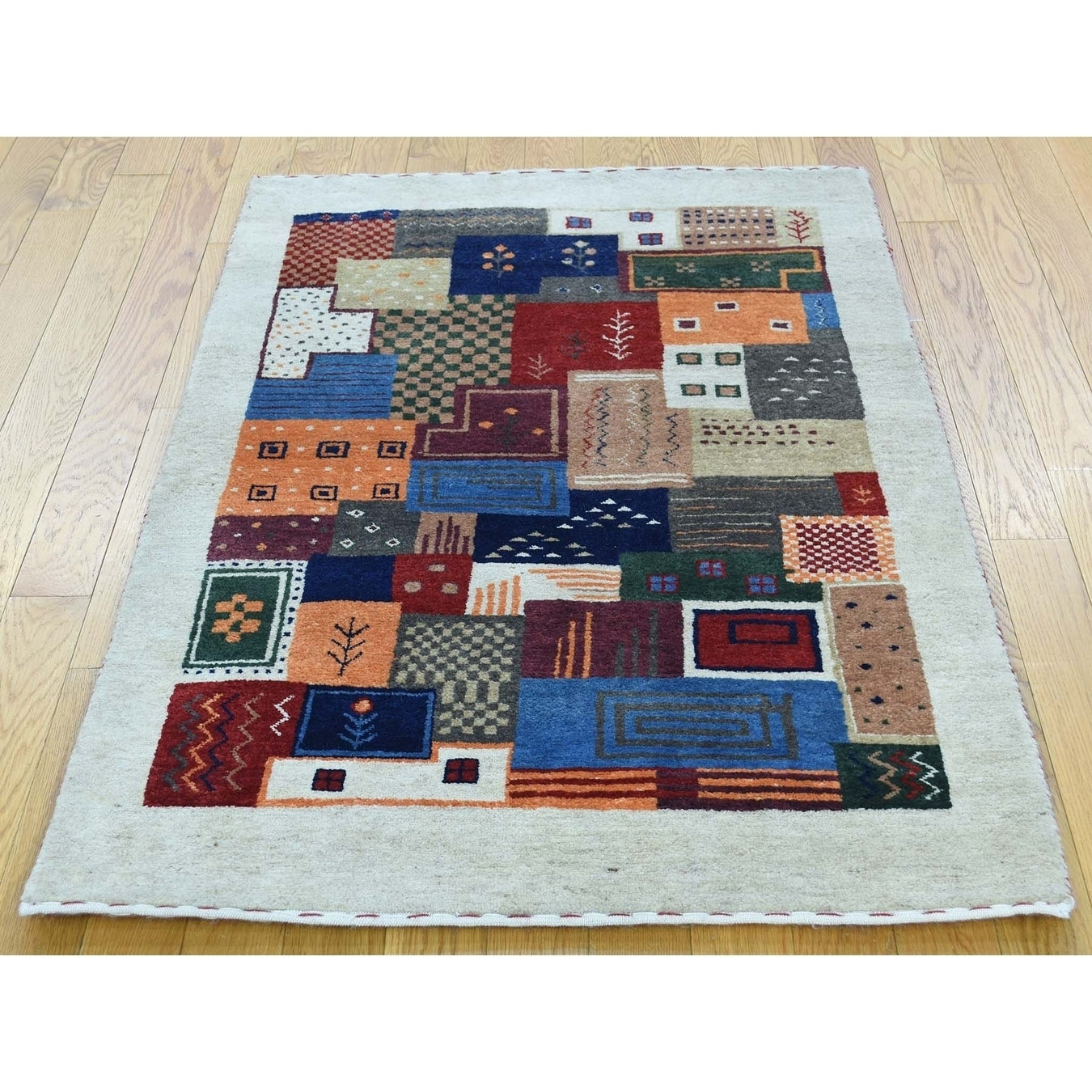 Hand Knotted Multicolored Modern & Contemporary with Wool Oriental Rug - 2 x 31